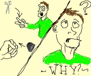 Man questions life post-rockpaperscissors loss