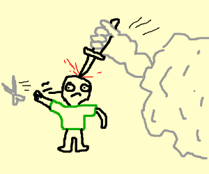 Green Shirt Guy throws Scissors, loses to Rock