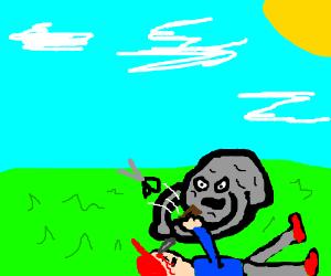 Boulder stabs man in head, man throws scissors