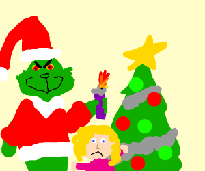 The Grinch burns a sad girl's Christmas tree