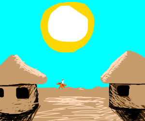 Bright sun in the desert town
