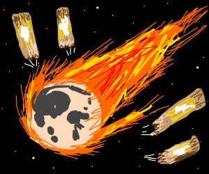 Meteor-like moon hits a couple of churros