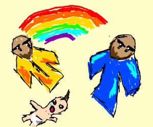 Two gay asian men raise a baby