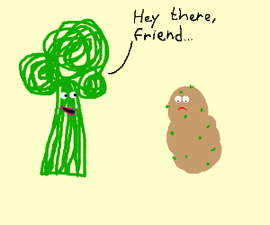 Broccolli greeting potato