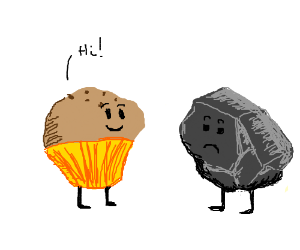 Muffin and a stone meet