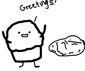 Muffin greets rock
