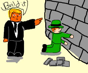Donald Trump Orders Leprechaun To Build Wall Drawing By