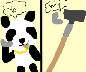 Thug Panda Calling Hoes The Tool Over Phone Drawing By Moddednexus