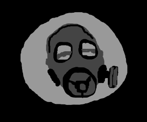 A Gasmask surrounded by a grey circle