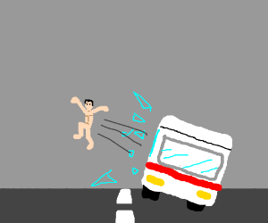 Jumping from the bus window naked because YOLO