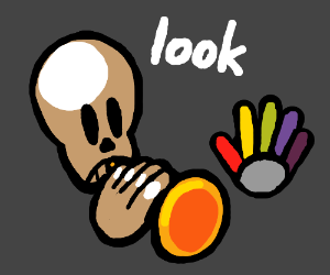 Skeleton with horn says look at colorful hand