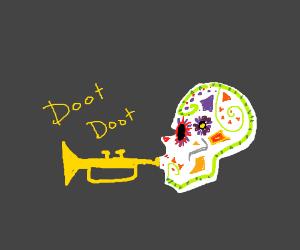 Day of the Dead skull plays trumpet: doot doot