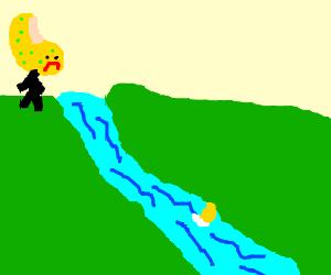 Potato heads lose a piece downriver.