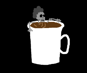 Skull with afro is put in your coffee