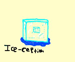 Ice cube inside ice cube.