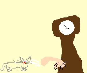 Cat being jizzed by big clock
