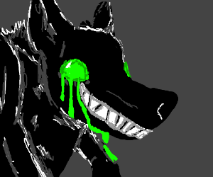 Black wolf with dripping green eyes.