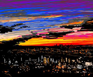 Sunset over a City Skyline