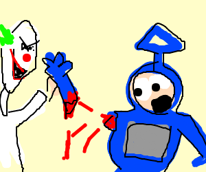 teletubby gets its arm ripped off by a claw