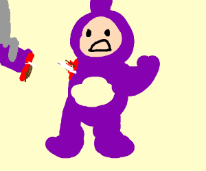 teletubby's arm is removed by a robot arm.