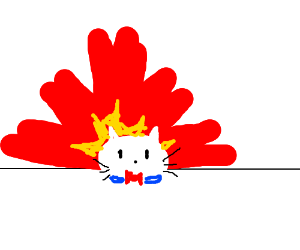 Hello Kitty walks away from huge explosion.