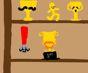 Mustache Trophy Cabinet