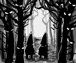 Gnomes in the spooky forest at night