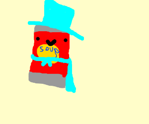 Talking soup can with a blue cape and hat