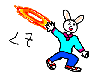 bunny shooting fire out of its left paw runnin