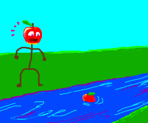 Humanoid apple discovers normal apple in river