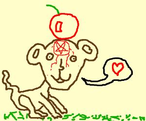 Satanic monkey has cherry on head, loves you.