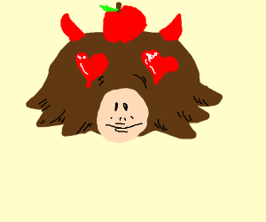 Satanic Monkey with apple on head <3 you