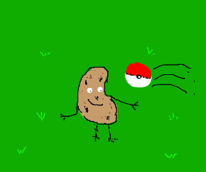 Happy potato is getting captured by a pokeball