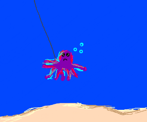 Octopus sad because caught by fish hook