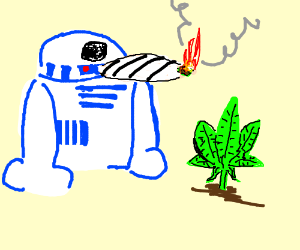 R2-D2 smoking a joint