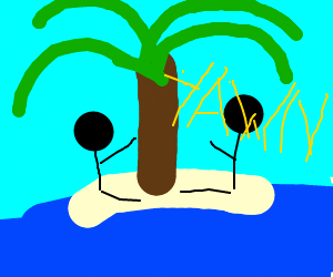Two bored guys on an island