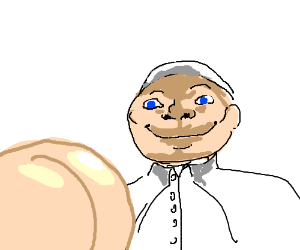 Creepy pope stares at dude ass