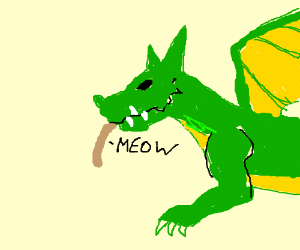 Dragon eating a cat