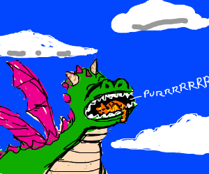 Dragon carrying orange cat in mouth