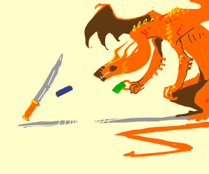 Dragon buys Snickers from a knife
