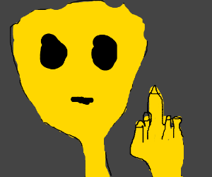 yellow alien giving the middle finger