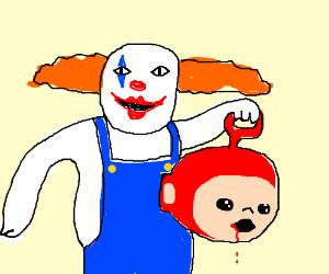 Clown destroys teletubbie.