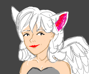 A beautiful woman with wings and cat ears.