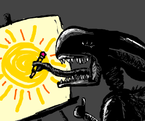 Xenomorph happy with it's drawing of the sun