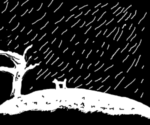 Two white silhouettes dancing in the rain