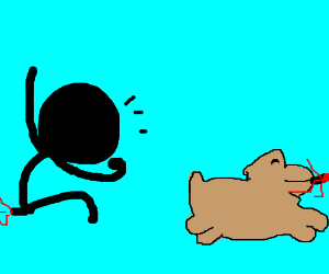 Bad dog, give me back my leg!