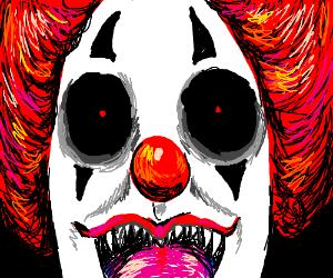 Spooky clown has long tongue, licks off panel