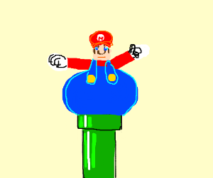 Fat Mario gets stuck in pipe
