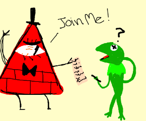 angry triangle asks confused kermit to join