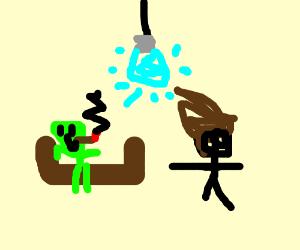 Smoking alien Gerald and a brownleaf therapist